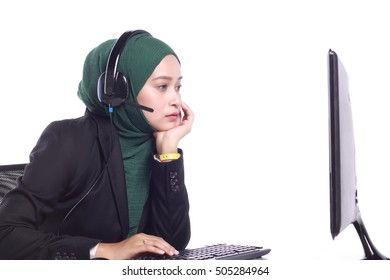 young muslim women helpline operator sleepy  isolated on white background