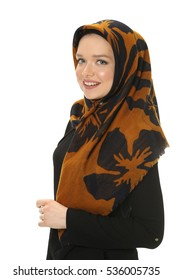 young muslim women posing with scarf in studio