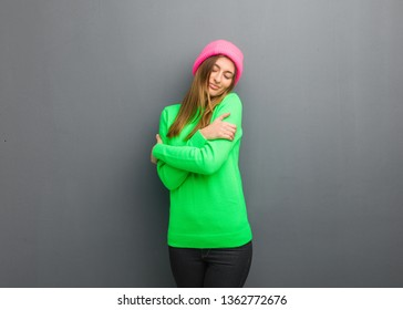 Young natural russian girl giving a hug
