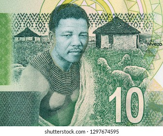 Young Nelson Mandela and his birthplace of Mvezo on South Africa 10 rand note. President of South Africa, Nobel Peace Prize winner.