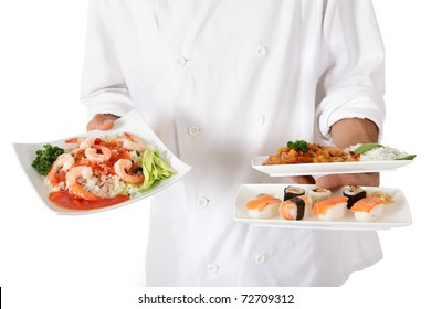 Young nepalese chef hands holding three plates with tasty oriental food. Studio shot. White background.