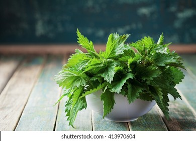 Young nettle leaves in pot on rustic background, stinging nettles, urtica