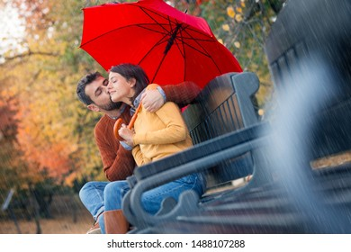 Young nice couple kissing under an umbrella on bench in autumn park