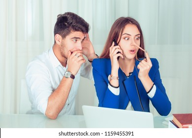 Young nosy man eavesdropping on young woman telling lies while speaking on phone, girl surprised by long nose growing longer in the office at workplace, home at the table . Liar concept and grapevine