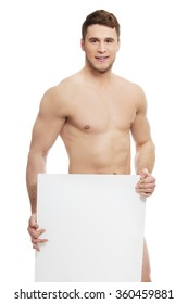 Young nude man covering his self with banner.