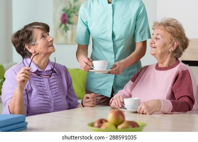 Young nurse serving hot tea to her two senior wards