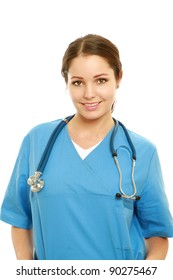 Young nurse standing  over white background