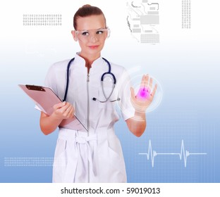 Young nurse in white uniform, transparent glasses and a stethoscope clicks on virtual buttons. Collage.