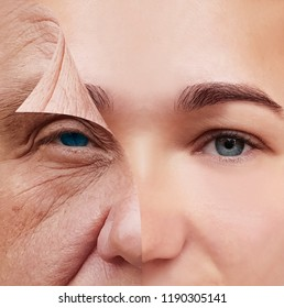 young and old face before and after concept