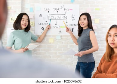 Young oversea Asian female college students presenting project in front of classroom