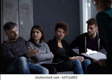 Young people with addictions on group aa meeting