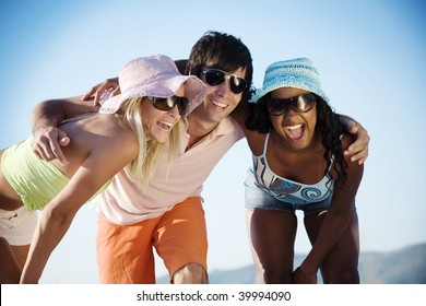 young people at the beach having fun
