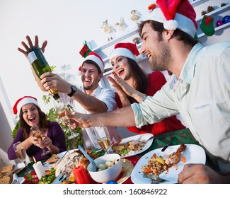 Young people celebrating together new year's eve