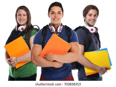 Young people college students student studies smiling happy isolated on a white background