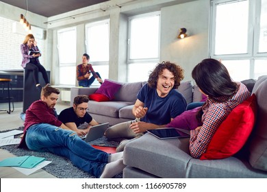 Young people communicate together in the room.