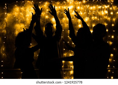 Young people are dancing. Nightlife and disco concept. Party.