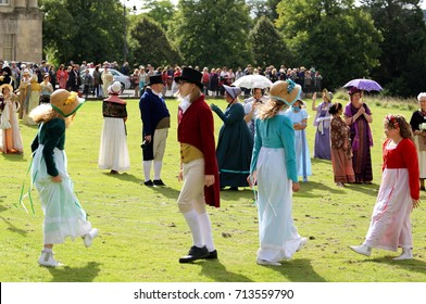 Young people dancing at  the Regency Costumed Promenade,the 200th anniversary of Jane Austen's death in Bath,Royal Crescent,England,United Kingdom.09/09/2017