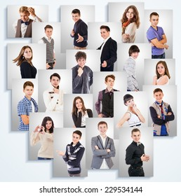 Young people emotional portraits photos on the white wall