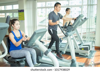Young people are exercising healthy.
