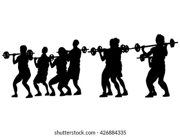 Young people in fitness classes on white background