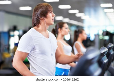 Young people in the fitness club