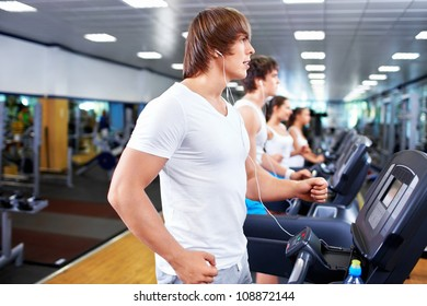 Young people at fitness club