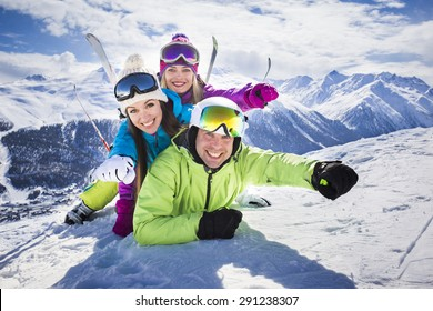 Young people funny action winter ski resort