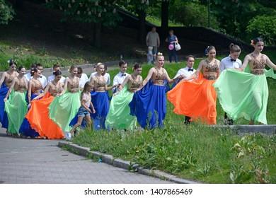 Young people going to dance waltz. Costume ball of high-school graduates organized by City Hall of Kiev. May 24, 2019. Kiev, Ukraine