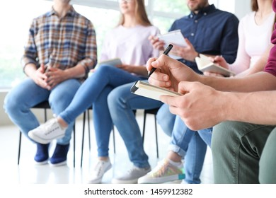 Young people at group therapy session