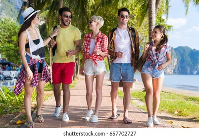 Young People Group Tropical Beach Palm Trees Friends Walking Speaking Holiday Sea Summer Vacation Ocean Travel