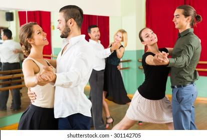 young  people having dancing class in studio