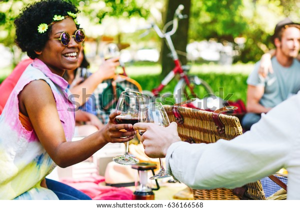 Young people having a wonderful picnic in a park enjoying the joyful moment drinking and eating - Happy friends toasting glasses of wine - Afro hipster woman having a cheers with her friends