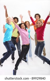 Young people jumping with joy