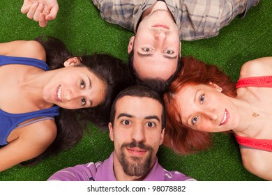Young People Lying on the Ground