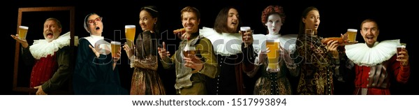 Young people as a medieval grandee on dark studio background. Drinking beer. Collage of portraits in retro costumes. Human emotions, comparison of eras, oktoberfest and facial expressions concept.