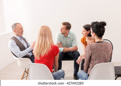 Young people on group therapy session