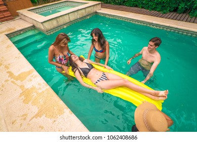 young people in the pool
