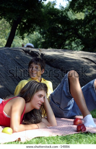 young people relaxing in a park
