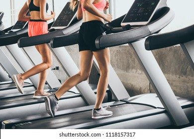 Young people running on the treadmill at the gym
