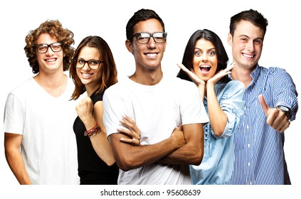 young people smiling over white background