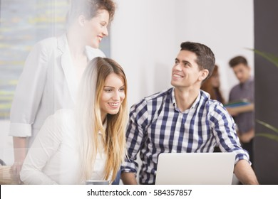 Young people in the team in modem business company