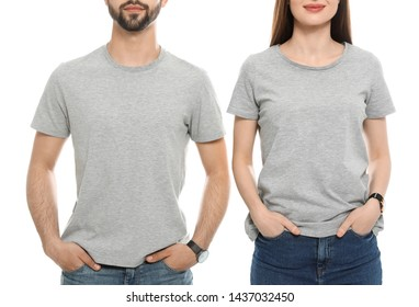 Young people in t-shirts on white background, closeup. Mock up for design
