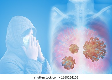 Young people use sugical mask for prevent strain of flu virus over chest x-ray image background,lung disease,corona 2019