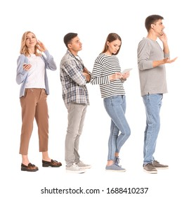 Young people waiting in line on white background