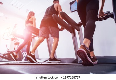 Young peoples training on treadmill at the gym. In fitness center. Health concept