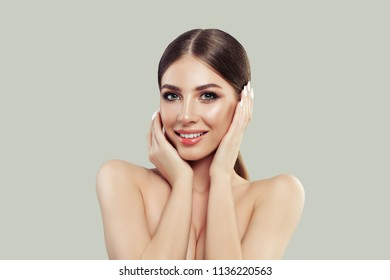 Young Perfect Woman with Healthy Skin and, Straight Hair and Manicure. Facial Treatment, Cosmetology, Beauty, Skin Care and Spa