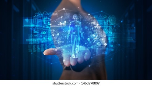 Young person holding hologram projection displaying health related graphs and symbols