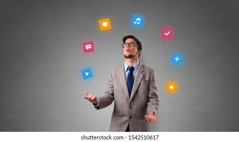 Young person juggle with application icons