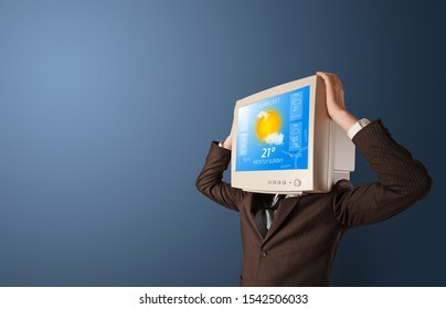 Young person with monitor head, weather forecast concept