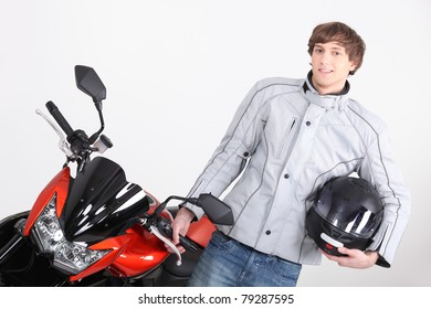 Young person with motorbike